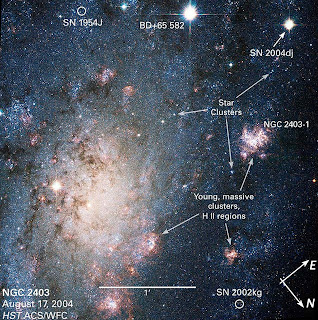 Annotated view of NGC 2403 and Supernovae