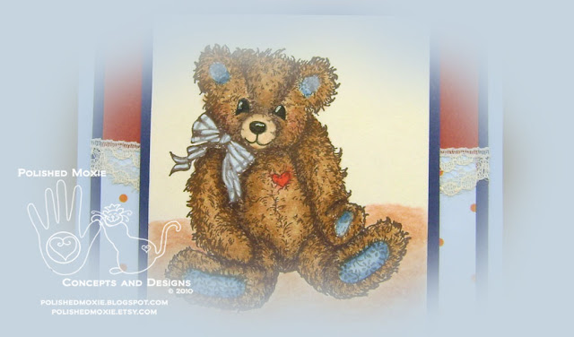 Picture of partial image of lace embellished teddy bear card