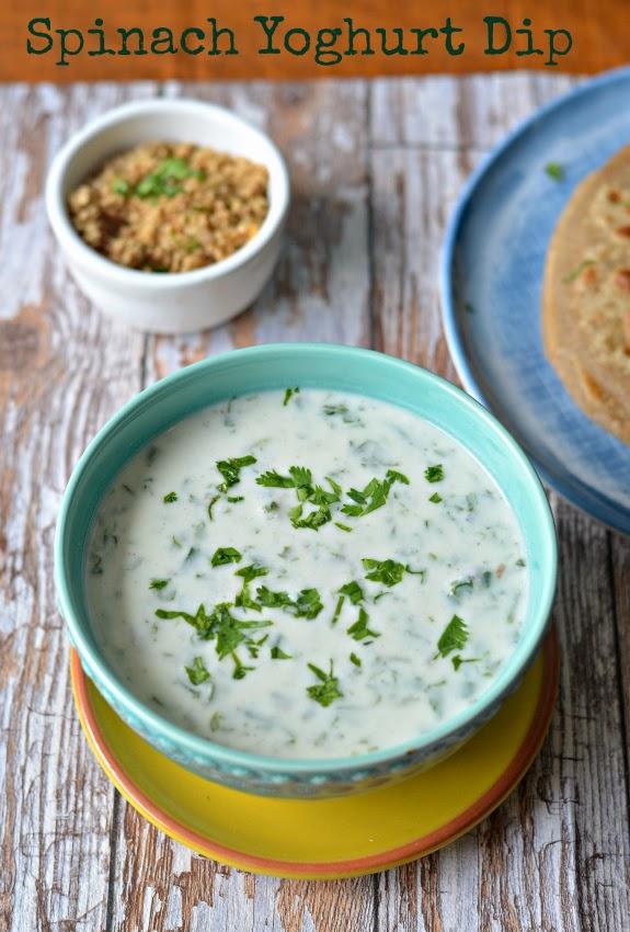 paalak ka raita :: spiced spinach raita :: low fat spinach yoghurt dip