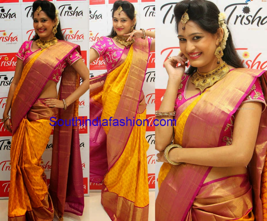 yellow and pink silk saree