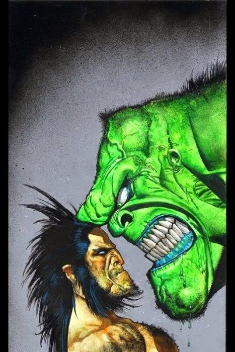 Dessin de Simon Bisley représentant serval face à hulk