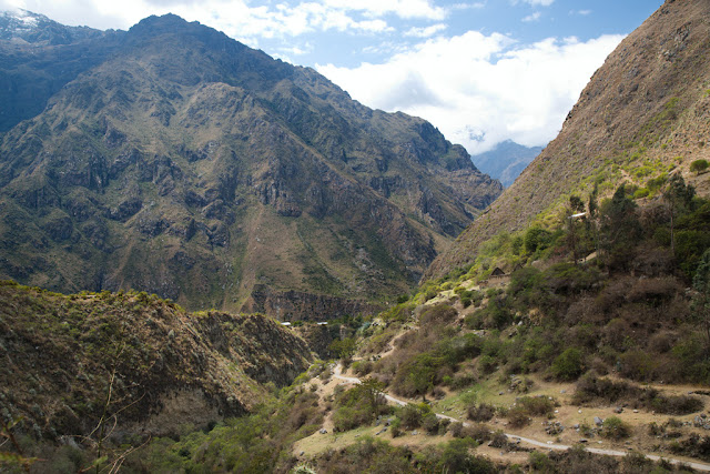 A photograph of the Inca Trail winding through the valley taken on Day 1 of the Inca Trail in Peru