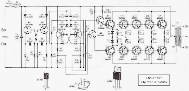simple 500w 12v to 220v inverter circuits diagram