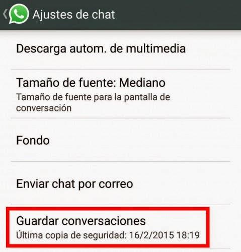 Trucos para WhatsApp - Copia de seguridad