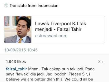 RESPON FAIZAL TAHIR BILA KJ KATA SOKONG LIVERPOOL SAMA SEPERTI SOKONG PAS!