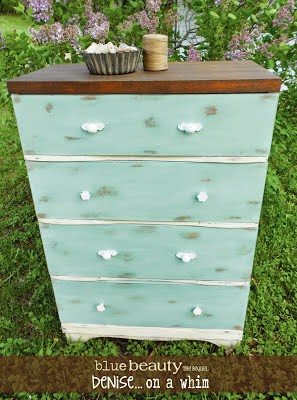 Duck Egg Blue Dresser Makeover from Denise on a Whim