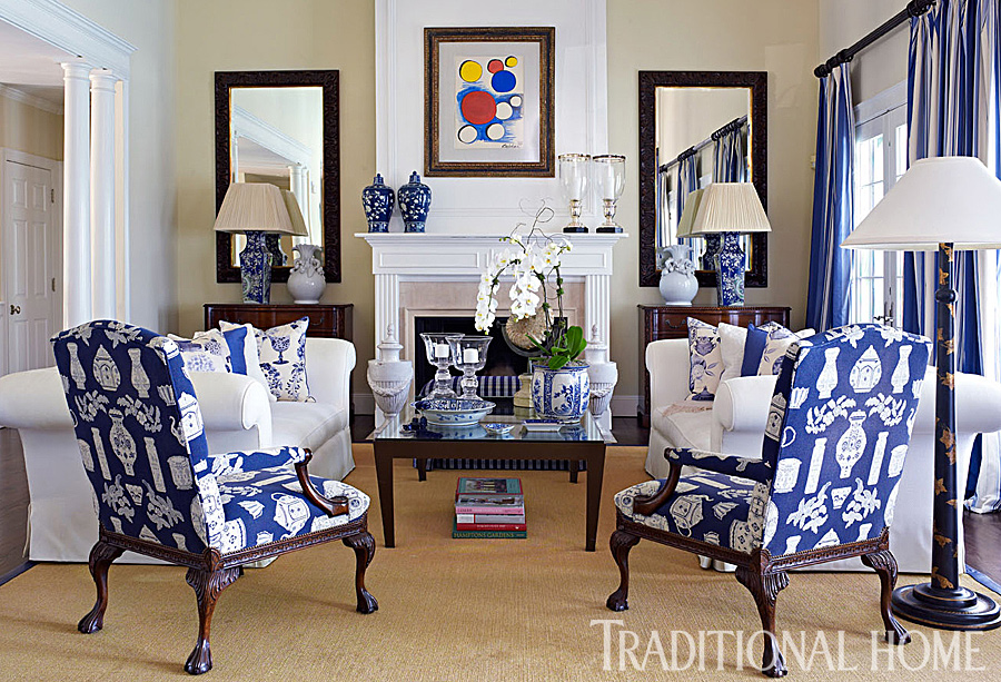 A home for elegance home tour dennis basso 39 s blue - Green living room ideas in east hampton new york ...