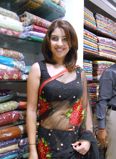 Richa Gangopadhyay in a Black Transparent Saree