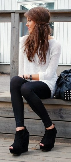 White Long Sleeve Sweater With Black Leging And Black Shoes