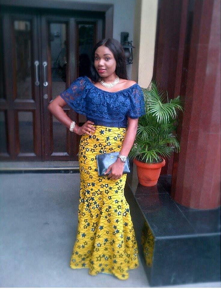 Nigerian Ankara Styles Blue Lace Top With Yellow Ankara