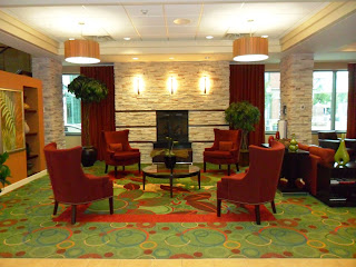 The lobby of the Marriott Residence Inn