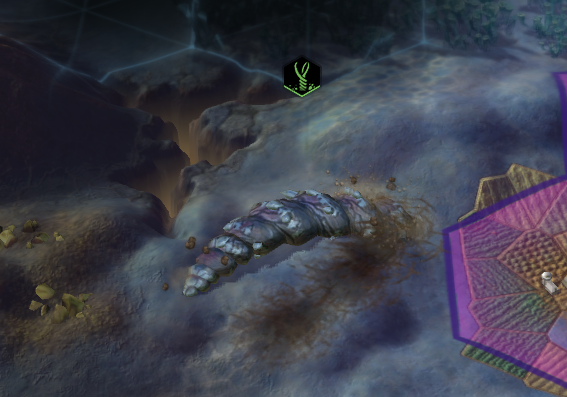 An Alien Siege Worm in Civilization: Beyond Earth.