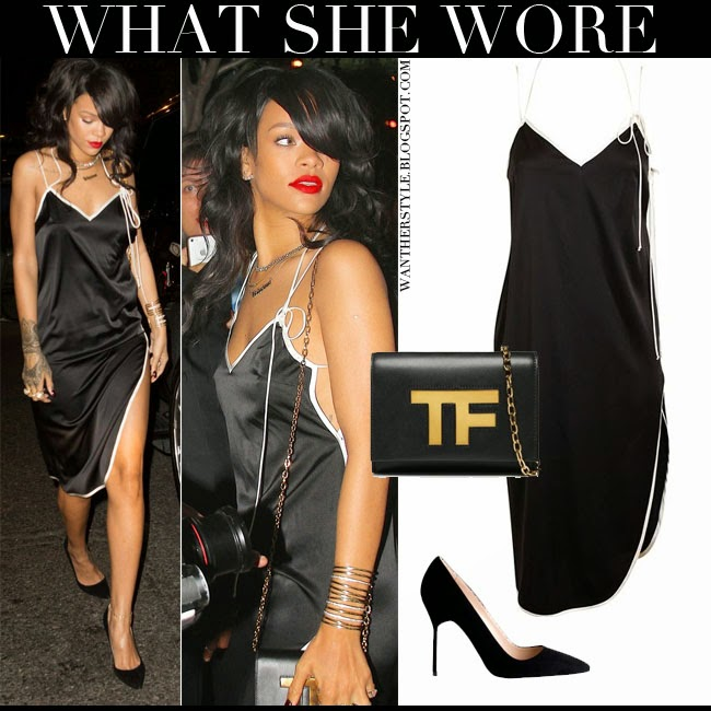 Rihanna in black slip dress by Adam Selman with black pumps Manolo Blahnik and black shoulder bag Tom Ford Icon August 14 2014 want her style