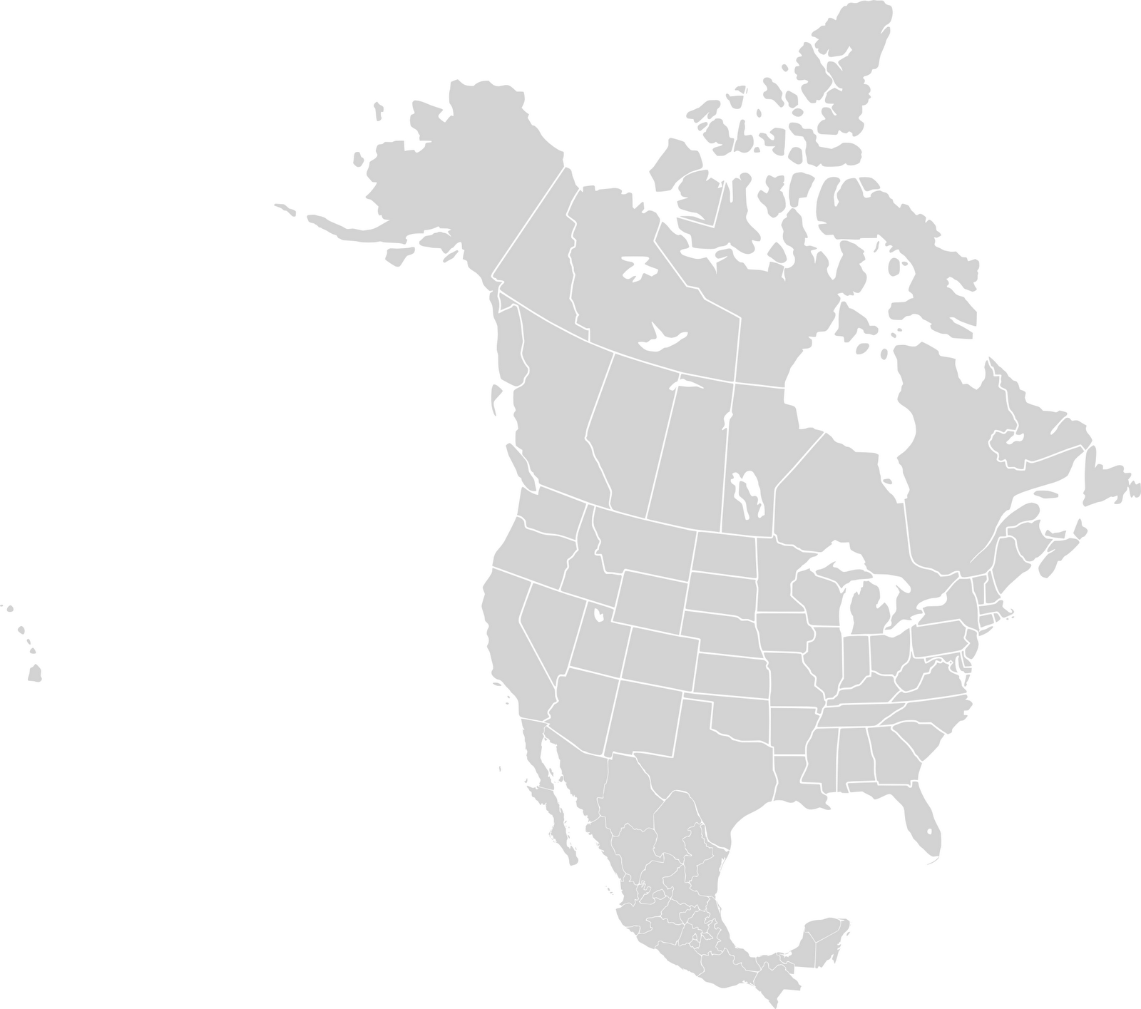 maps of dallas: Blank Map of North America