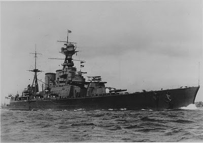 WW2 Battle of Atlantic Hunt for Bismark --photo of HMS Hood