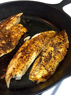 healthy dinner, fish, blackened fish, tacos, fish tacos, cast iron skillet, clean eating, weight loss