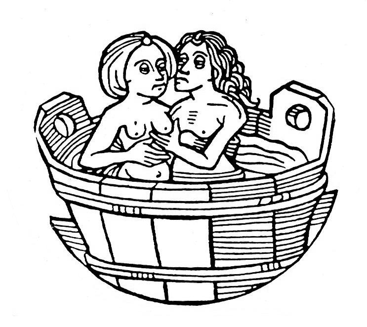 Grabado de una pareja medieval