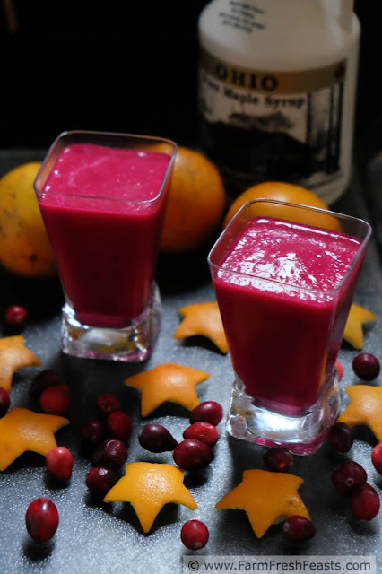 This recipe is a vegan smoothie that combines seasonal citrus, beets, and cranberries with a generous splash of maple syrup to make it go down nice and easy.