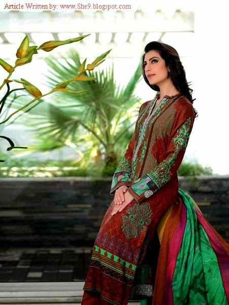 Gul Ahmed Winter Pashmina Dress Collection 2014