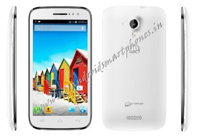 Micromax A116 Canvas HD White Phablet Front & Back Images.
