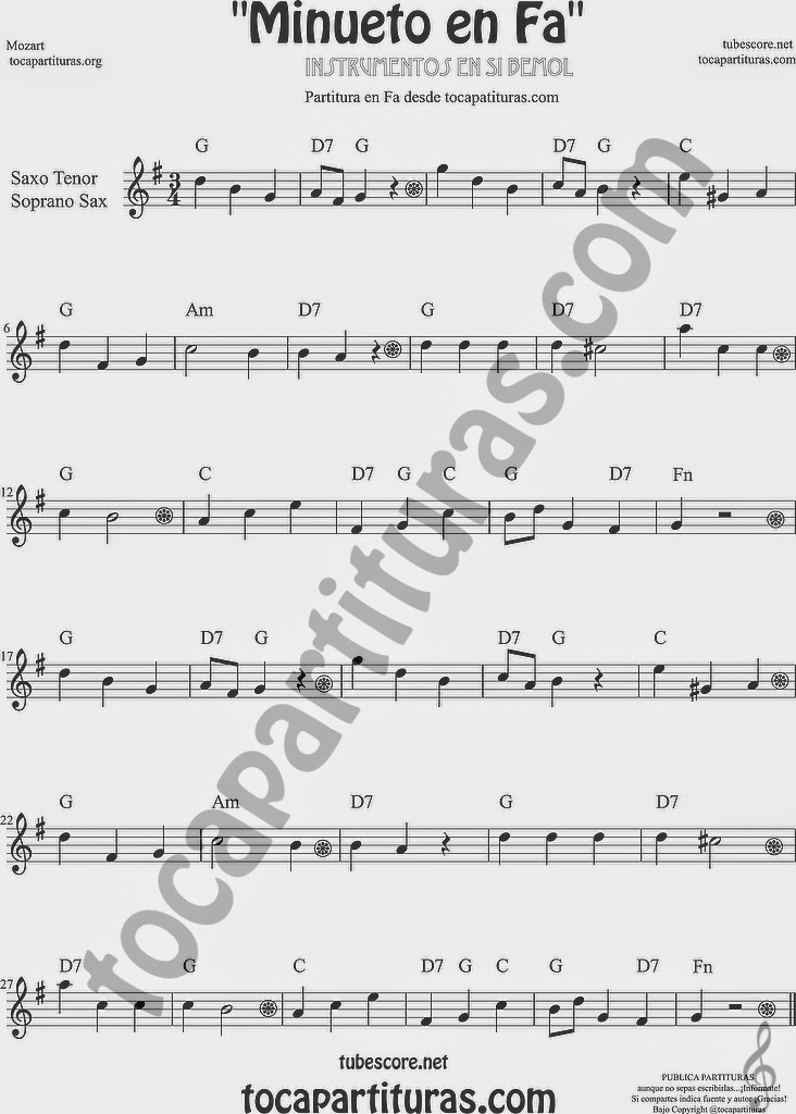 Minueto en Fa Partitura de Saxofón Soprano y Saxo Tenor Sheet Music for Soprano Sax and Tenor Saxophone Music Scores