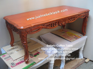 Supplier Indonesia classic furniture classic mahogany table classic carved coffee table sollato