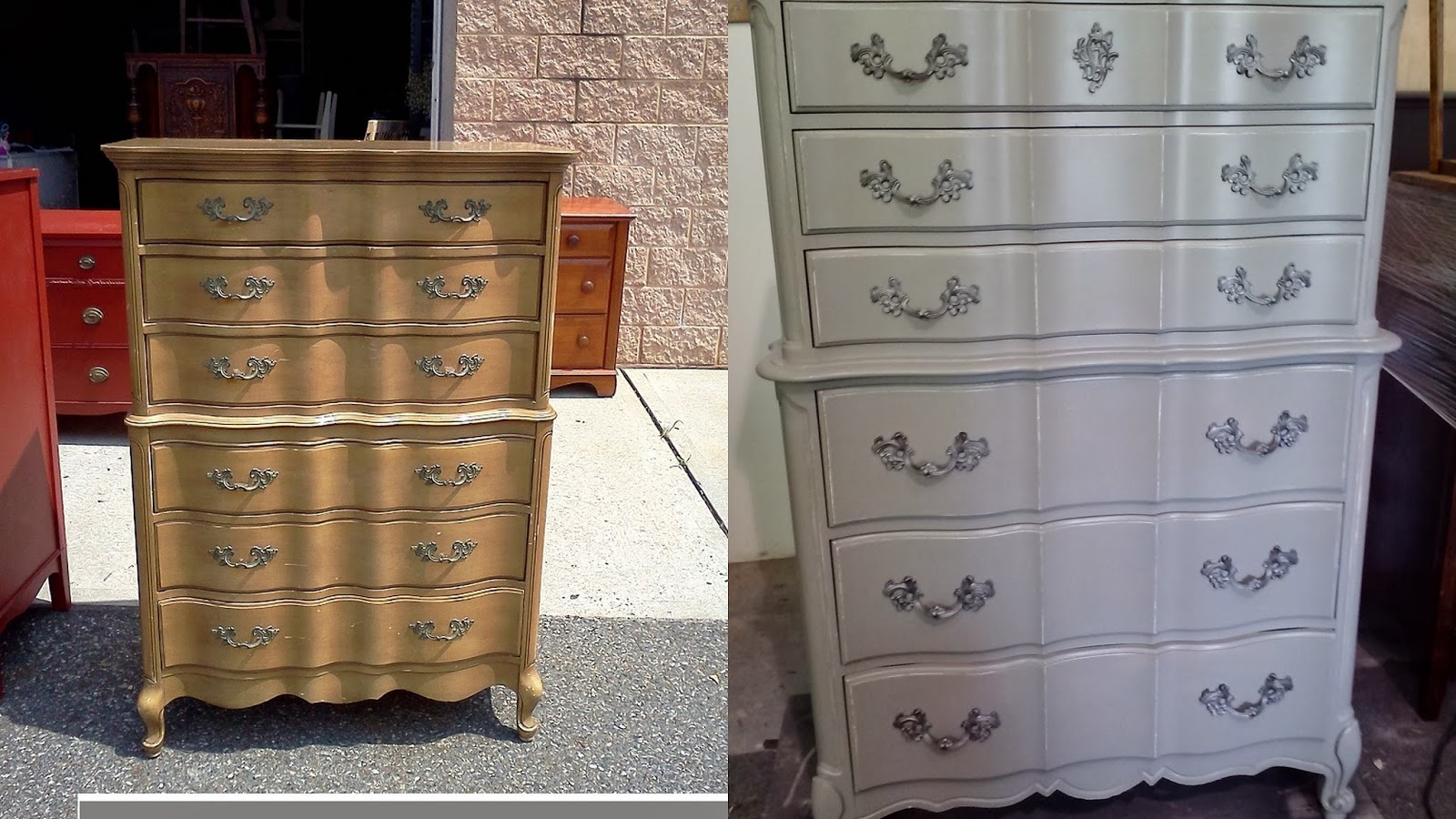 Before And After Of Our Shabby Chic Vintage Painted Furniture