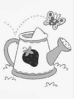 desenho de regador e borboleta para pintar