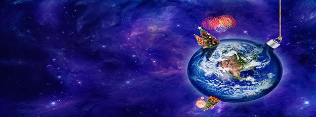 Esfera-Mundo • Portada para facebook • planeta tierra, arbolitos de navidad