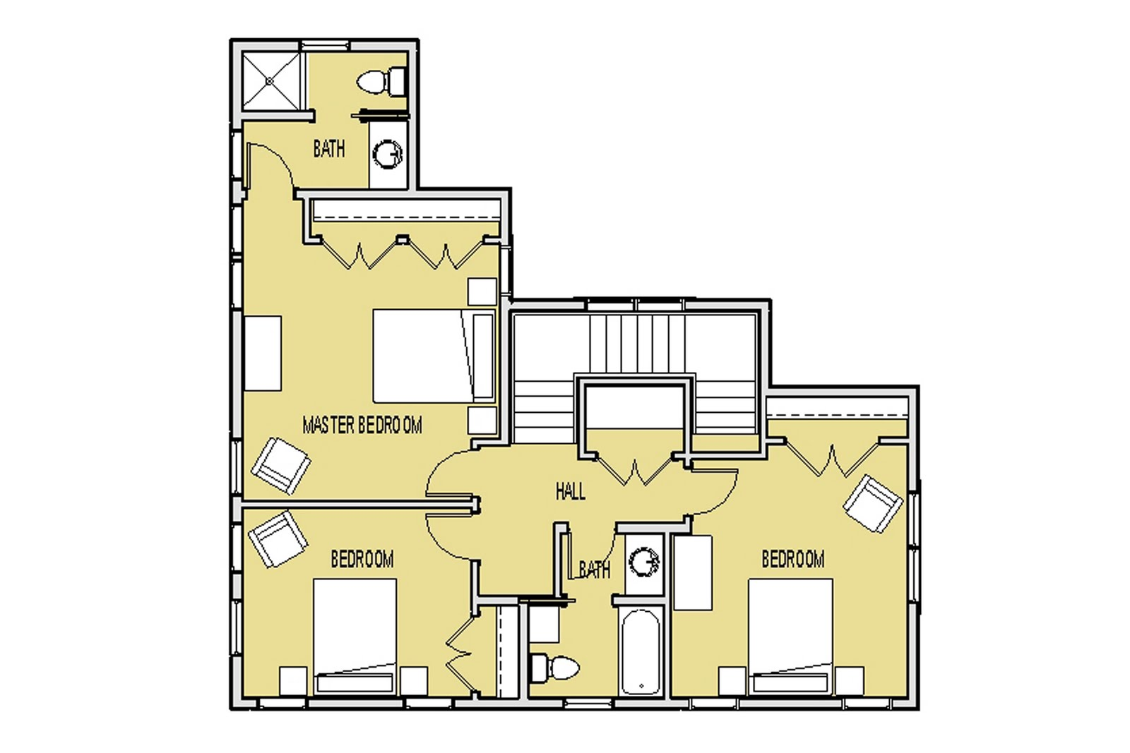 Upper Level Floor Plan - Three bedrooms with two baths.