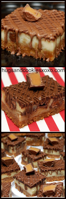 Rolo Cheesecake Bars With a Chocolate Glaze
