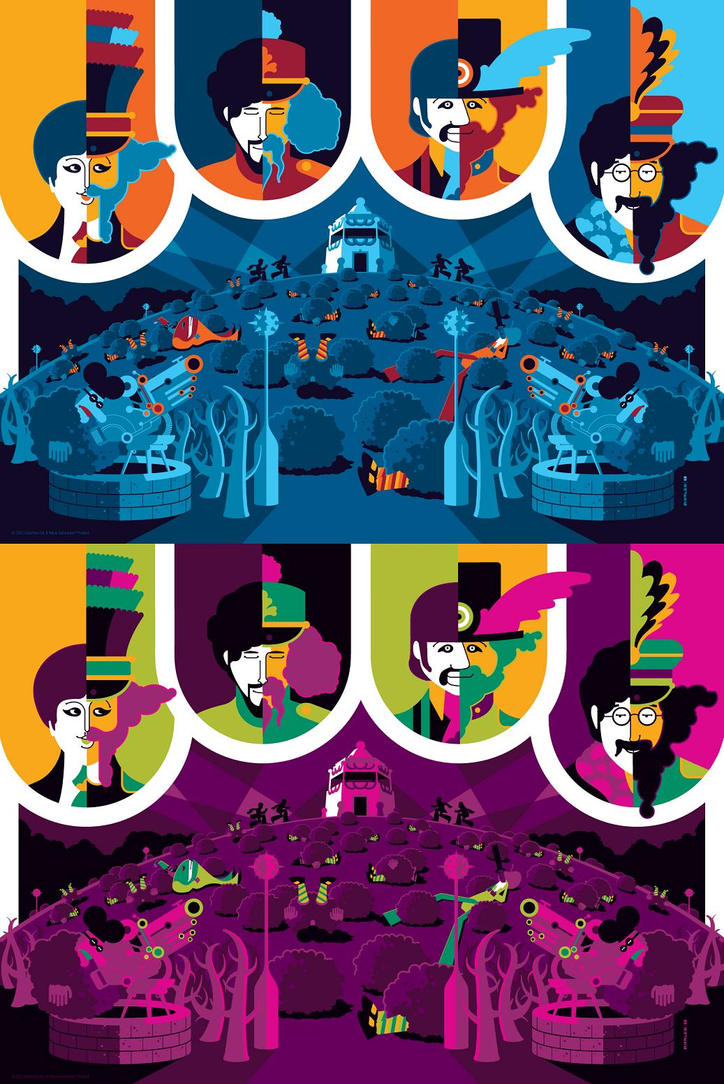 http://3.bp.blogspot.com/-iVwus1GB47I/T6doRt1fRkI/AAAAAAAAPnc/IFsCiMAukm4/s1600/The+Beatles+Yellow+Submarine+Print+Set+by+Tom+Whalen+-+Print+4+Standard+and+Pink+Variant+Editions.jpg