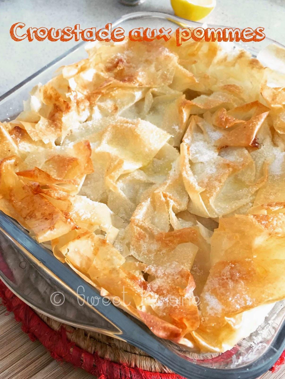 Sweet Kwisine, croustade, pommes, amandes, pâte filo, sucre