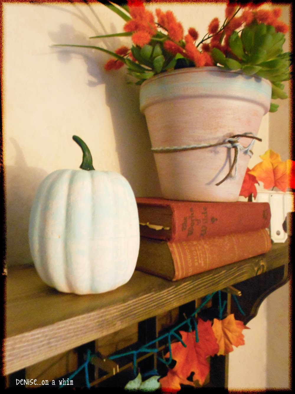 Painted Dollar Store Pumpkina and Vintage Books in a Fall Vignette from Denise on a Whim