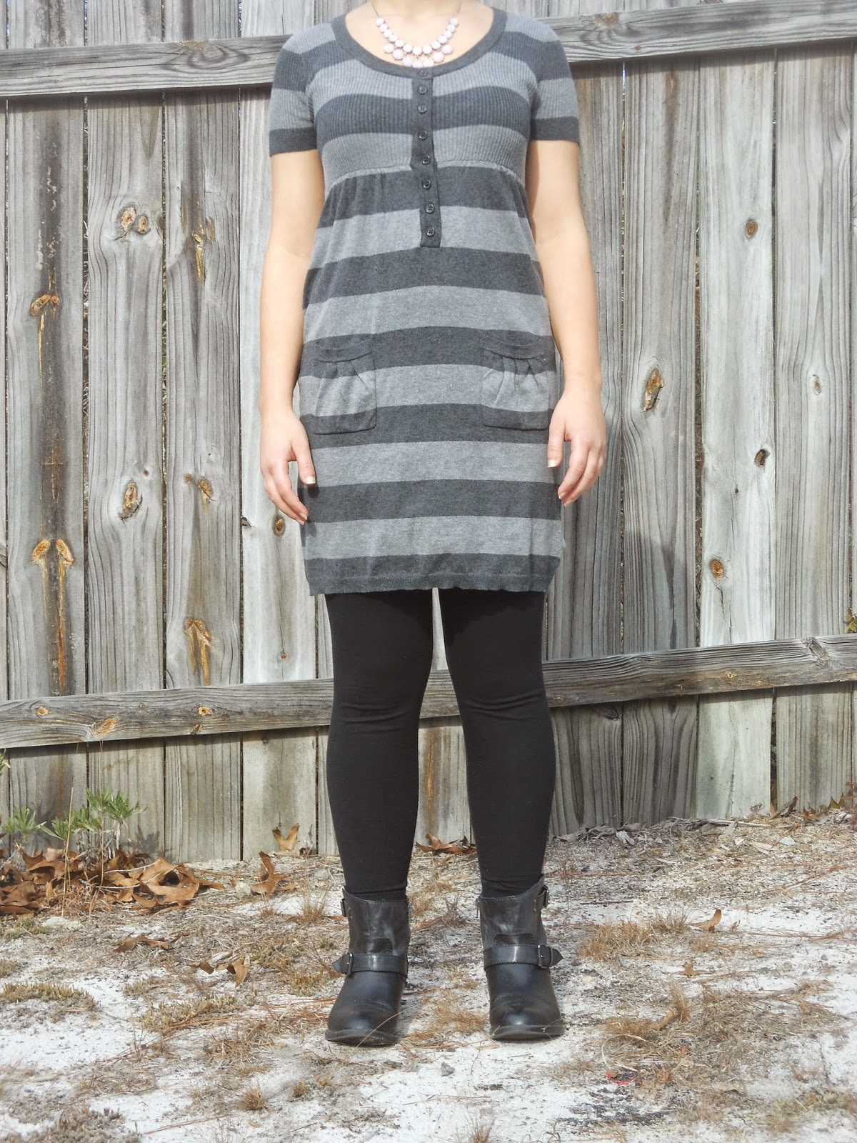 How to Wear a Dress in Winter || 05. Grey sweater dress, black leggings, black ankle boots, statement necklace