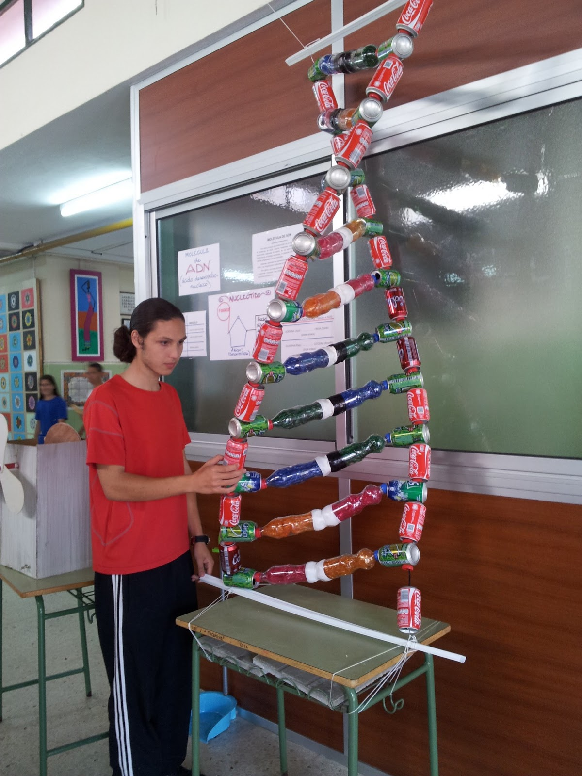RESIDUOS: Modelo de doble hélice de ADN usando materiales reciclados