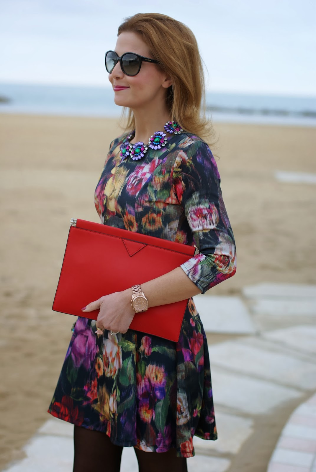 floral dress, Zara red clutch, Michael Kors rose gold watch, Mercantia gioelli, Fashion and Cookies, fashion blogger