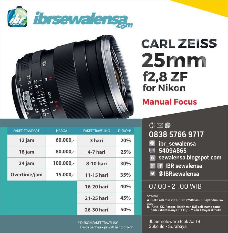CZ 25. HARGA SEWA RENTAL KAMERA LENSA Carl Zeiss 25mm f2,8 ZF for Nikon (Manual)