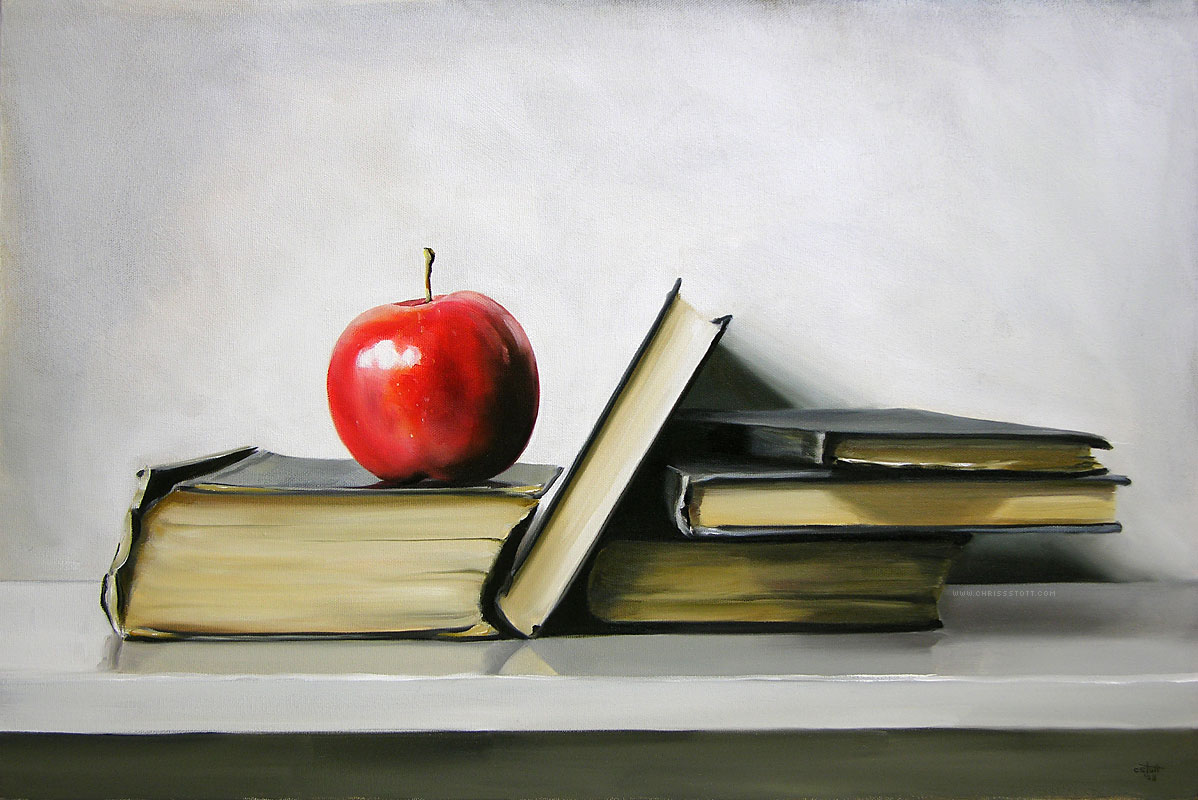 Gala apple with antique books christopher stott got book worm