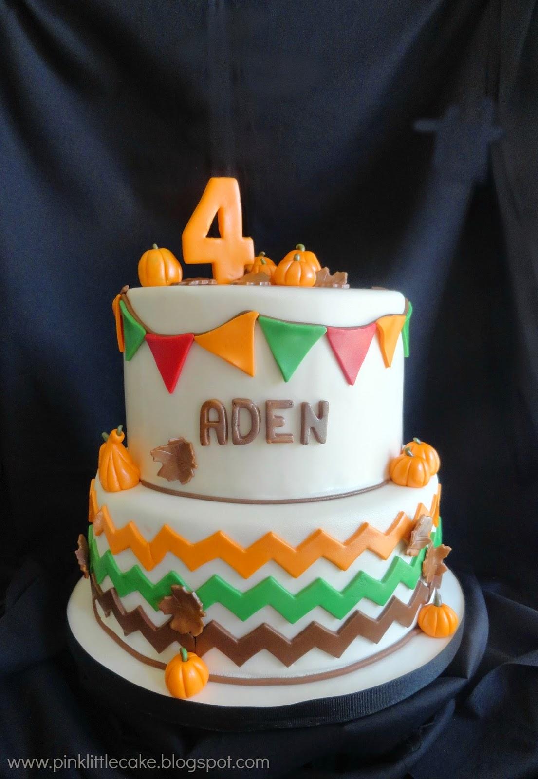 Pink Little Cake Pumpkin Patch Theme Birthday Cake