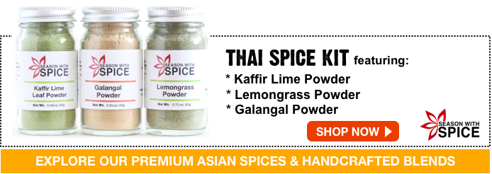 buy kaffir lime leaf powder, lemon grass powder, galangal powder available at season with spice asian spice shop