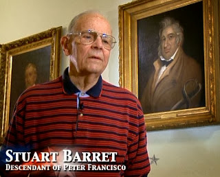 Stuart Barret, 5th generation descendant of Peter Francisco giving interview for documentary The Peter Francisco Story