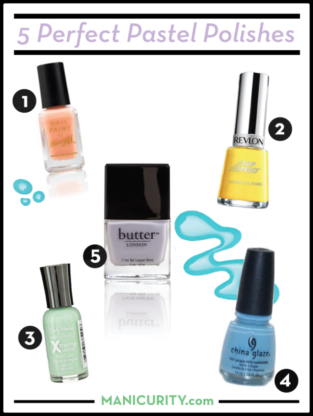 Friday Five | 5 Perfect Pastel Polishes to Play With Before We Say Goodbye to Spring! Barry M Peach Melba, Revlon Top Speed Electric, Sally Hansen Xtreme Wear Mint Sorbet, China Glaze Bahamian Blue, Butter London Muggins | Manicurity.com