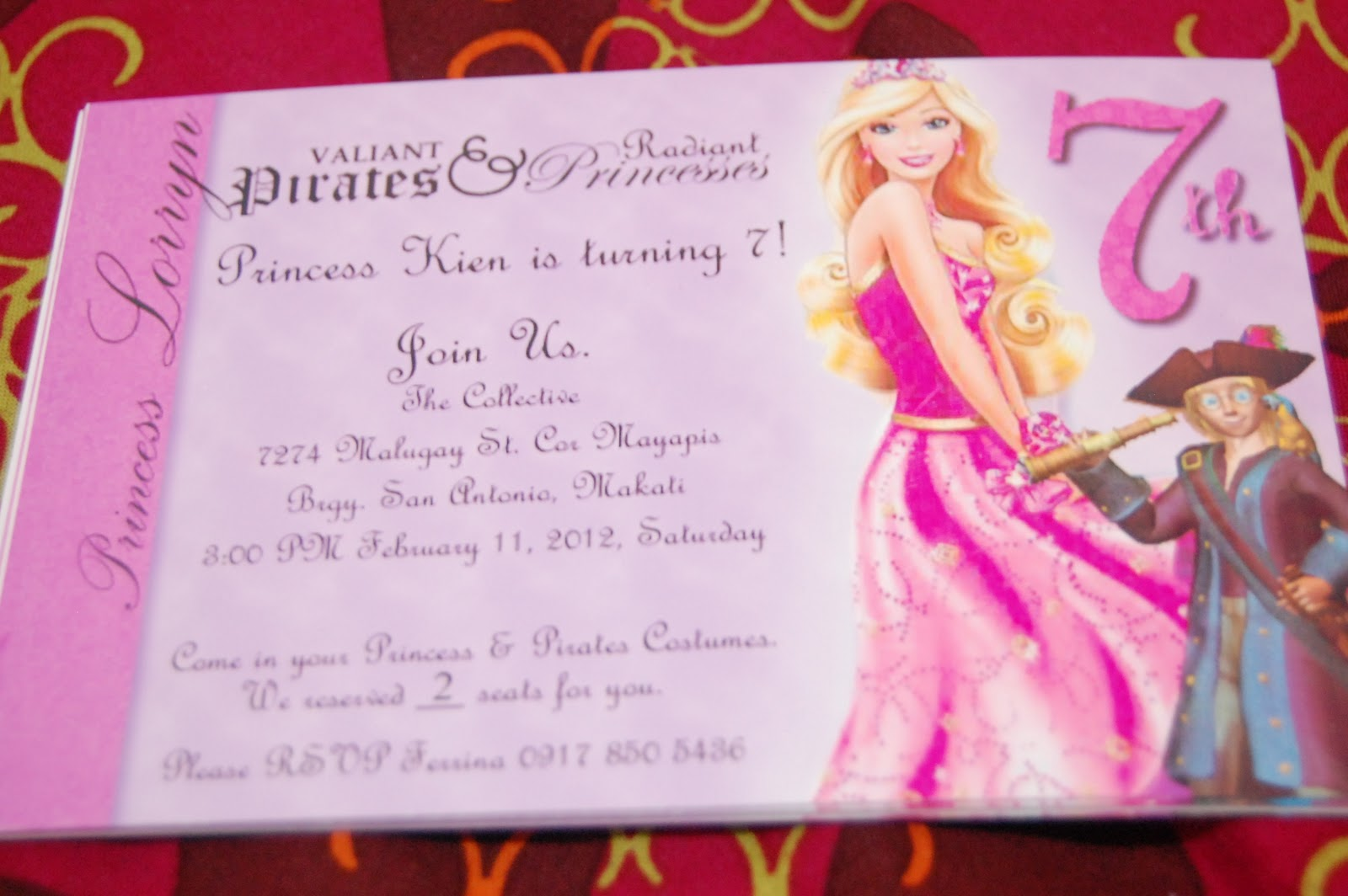 Ferrinakabongga kiens 7th birthday the preparation week 1 of 6 invitation card for girls it says pirates princesses stopboris Gallery