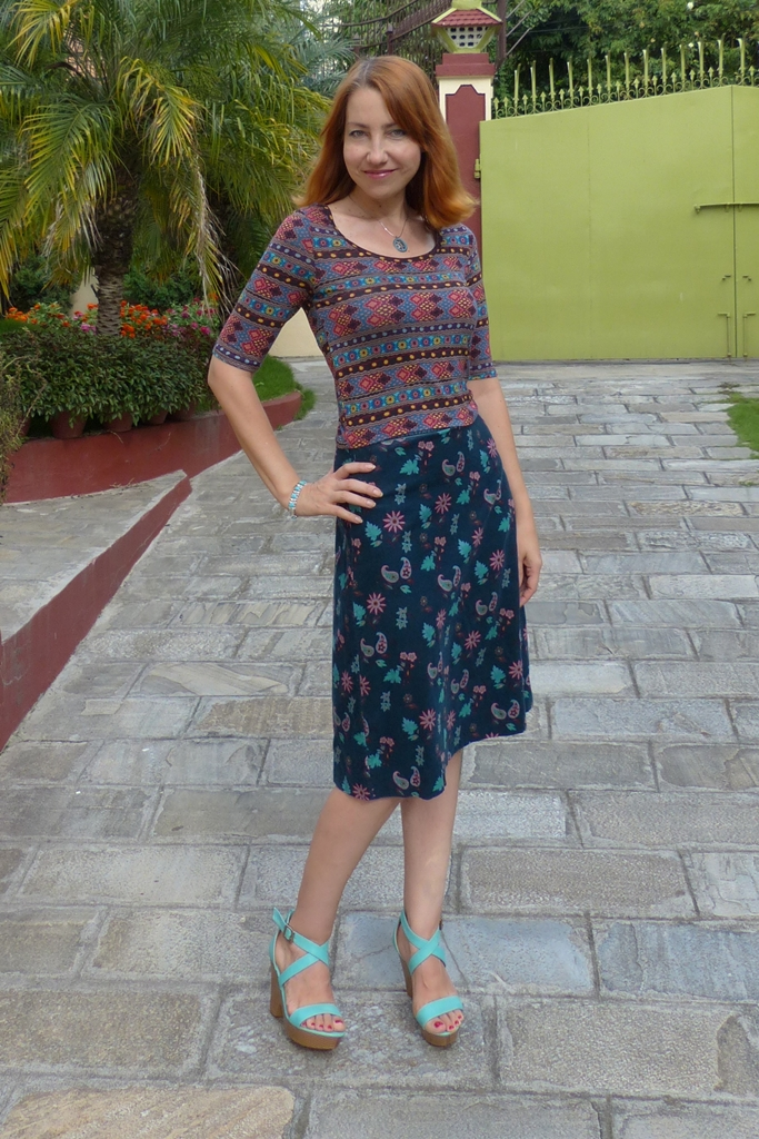 Pattern mixing: corduroy skirt and rayon top