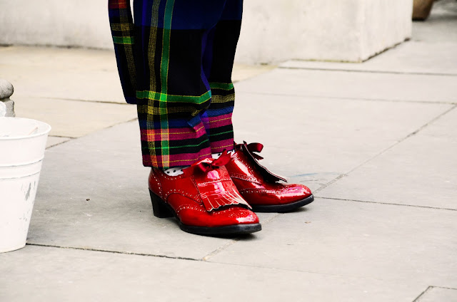 LFW, Fashion Week, Red, Flaps, Footwear, Plaid, Trousers, Details, Brogues