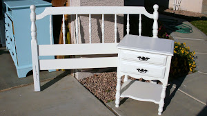 Shabby Chic Full Size Headboard and Nightstand  *SOLD*