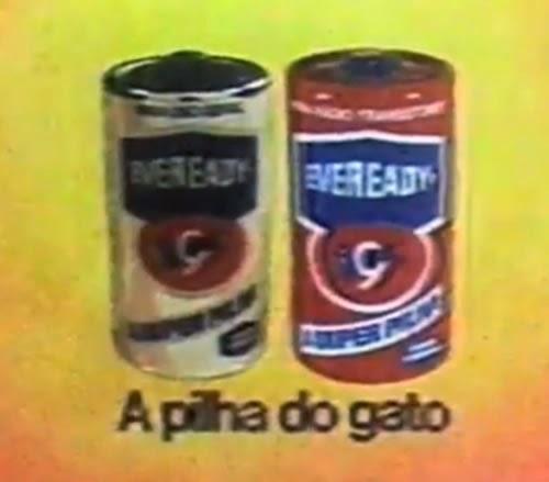 Propaganda das Pilhas Eveready (as pilhas do gato). Desenho animado publicitário de 1976.