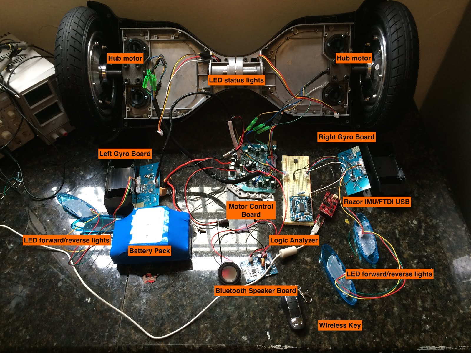 How I Hacked The Self Balancing Scooter Drews Blog Bridge Motor Control With Power Mosfets What Im Interested In Is Electronics There Look Like And They Communicate Each Other So Can Learn To Motors My