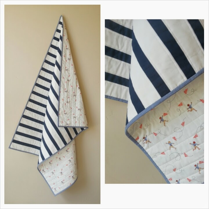 Navy and White Striped Modern Baby Quilt